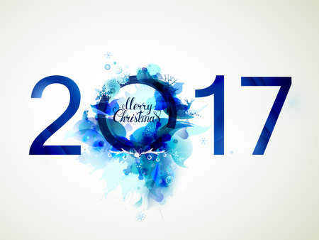 Blue composition. Merry Christmas and New Year 2017 with decorative design element.