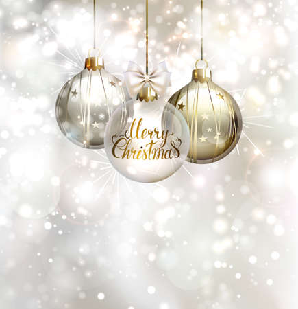 glimmered: Christmas three evening balls. Merry Christmas gold lettering on the glass evening ball. Shining glimmered background. Stock Photo