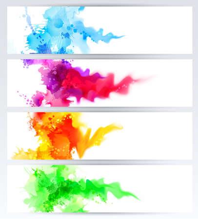 arte abstracto: Conjunto de cuatro banderas, encabezados abstractos con colores borrones. Los puntos brillantes y la falta de definición están en el banner de tamaño estándar. Vectores