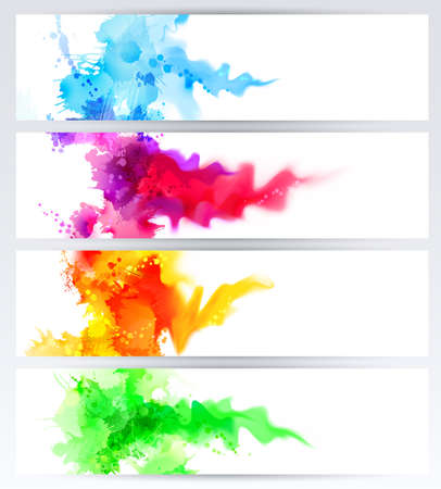 coloured: Set of four banners, abstract headers with colored blots. Bright spots and blur are on the standard size banner. Illustration