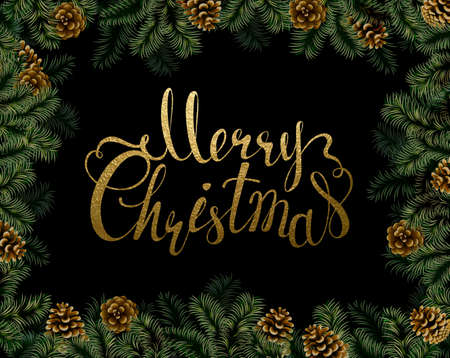 glimmered: Dark Christmas background with pine cones and branches frame. Festive decorative holiday gold texture lettering.