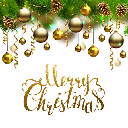 glimmered: Elegant shiny holiday backgrounds with evening balls, cones, serpentines and fir-trees branches. Merry Christmas gold texture inscription.