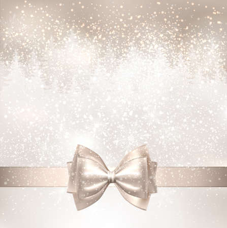 shine: Shiny Christmas background with winter snowy landscape and fir-trees. Holiday bow.