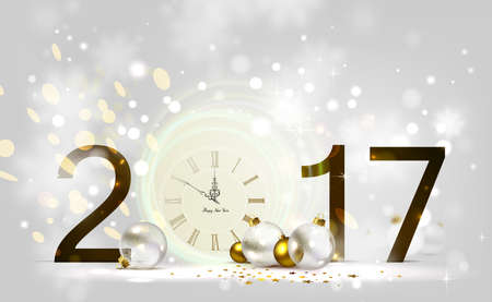 shiny background: Holiday shine light Background and festive baubles. New Year Midnight on the Clock 2017.