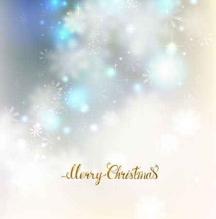 glimmered: Xmas abstract elegant shine background with snowflakes. Merry Christmas gold lettering on the light glimmered greeting card. Illustration
