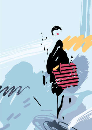 blue abstract: Stylish woman with bag standing on the winter street after shopping. Abstract background and elements formed by artistic blots and stains. Illustration