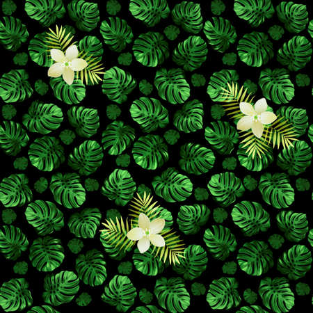 Seamless pattern of leaves monstera and exotic flowers. Dark green background with light blossoms. Illustration