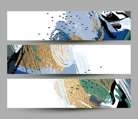 collection of artistic creative three cards with hand drawn shapes and textures elements on the white background. Modern unusual vector freehand abstraction. 일러스트