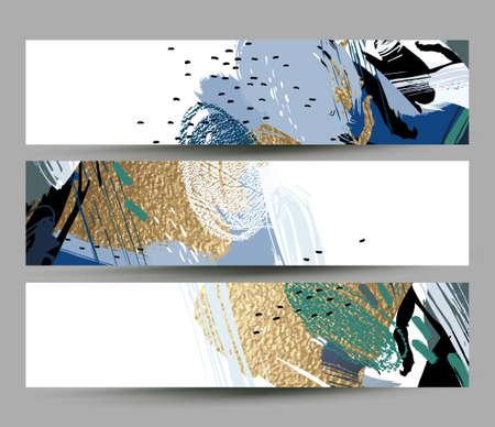 Collectie van artistieke creatieve drie kaarten met handgetekende vormen en texturen elementen op de witte achtergrond. Moderne ongewone vector vrije hand abstractie.