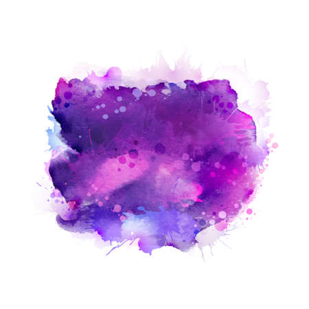 Lila, violette, lila und blaue Aquarellflecke. Helles Element für abstrakten künstlerischen Hintergrund.