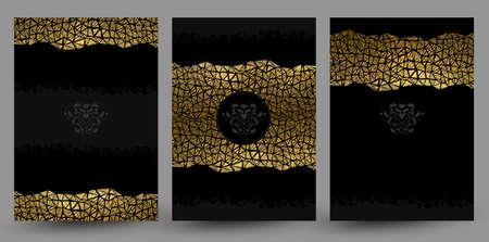 set van drie banners met goud textuur versiering op de zwarte achtergrond.