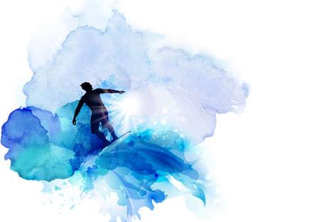 Image abstraite du mouvement, de la vitesse et de l'eau. Silhouette noire de surfeur sur le fond de taches bleus aquarelle.