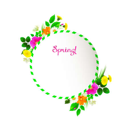romance: Flower frame background decorated by dandelions, chamomiles, wild roses, jasmine. Pink lettering spring like ribbon.