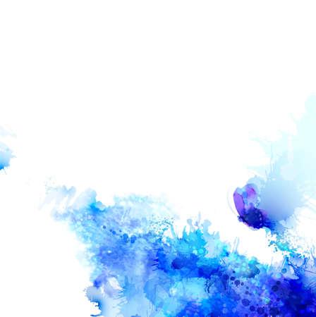 Abstracte achtergrond met blauwe samenstelling van waterverf blots en cyaan vlinder. Stock Illustratie