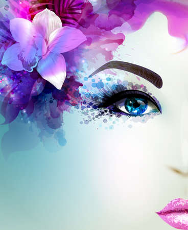 blue light: Beautiful young woman looks straight. Light blooming orchid decorated abstract pink blue hair. Illustration
