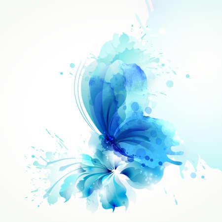 Hermosa acuarela abstracta mariposa azul sobre la flor en el fondo blanco. Ilustración de vector