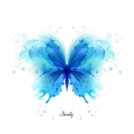 美しい青い水彩抽象半透明の蝶白い背景の上。翼はウェット水彩しぶきのように見えます。