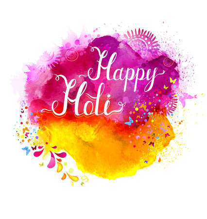 festive: Holi festival vector banner with white lettering on pink, magenta and yellow watercolor stains. Abstract bright background for Indian holiday.