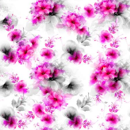 bonito: Patrón sin fisuras con flores abstractas rosa y gris y elementos decorativos sobre fondo blanco.