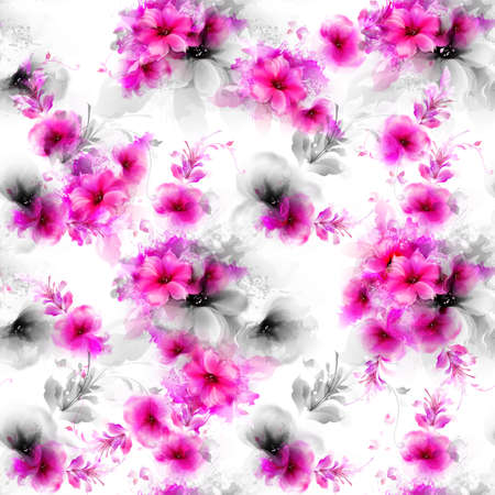 romance: Seamless pattern with pink and gray abstract flowers and decorative elements on white background.