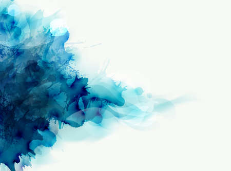 Blue watercolor big blot spread to the light background abstract vector composition for the elegant design. Illustration
