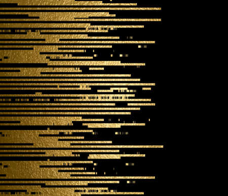 black banner: Banner with gold texture lines decoration on the black background. Illustration