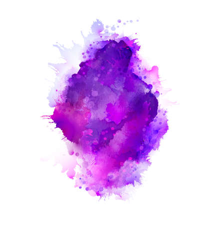 Purple, violet, lilac and blue watercolor stains bright element for abstract artistic background.