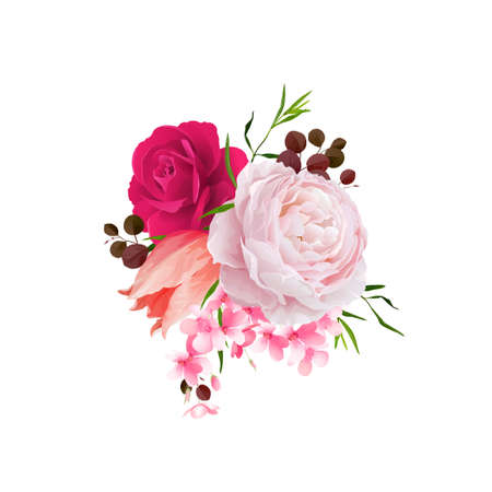 Elegance flowers bouquet of color roses and tulip . Composition with blossom flowers and branches. Vector illustration.