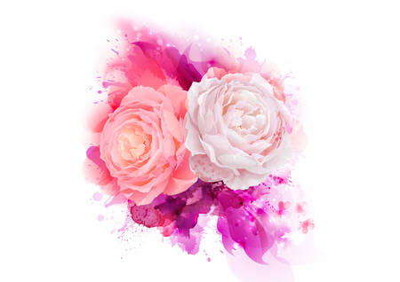 abstract paintings: Elegance flowers bouquet of pink color roses composition with blossom flowers on the magenta artistic abstract background. Illustration