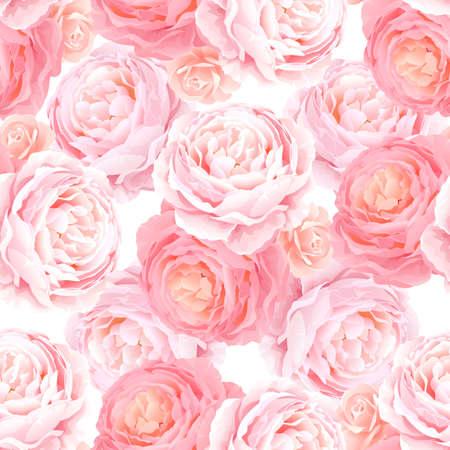 Seamless pattern with elegance color pink roses. Natural floral background. Illustration