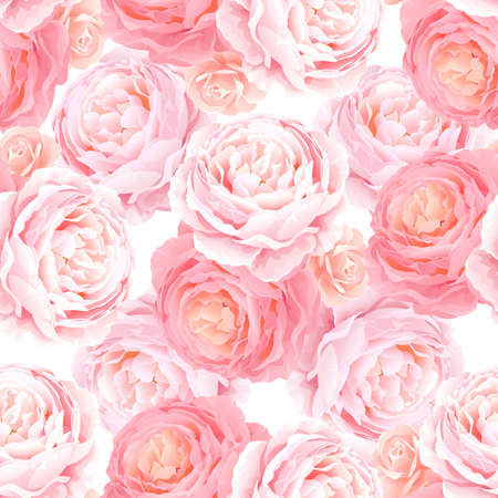 Seamless pattern with elegance color pink roses. Natural floral background. Vettoriali