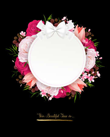 Elegance flowers frame of color roses and tulips on the black background . Composition with blossom flowers branches and lettering with round banner and place for text. Illustration