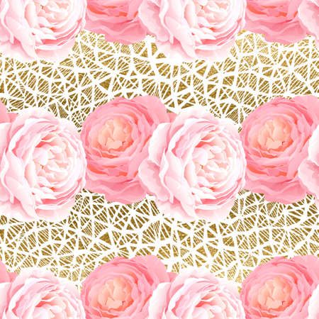 natural color: Seamless pattern with elegance color pink roses and light gold texture. Natural floral background.