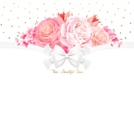 spot: Elegance flowers bouquet of color pink roses and tulip. Composition with blossom flowers branches and lettering with place for text on the white background. Illustration