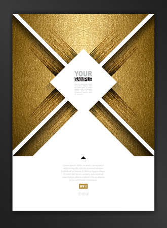 paper texture: White geometric abstract design elements decorated banner with gold texture background.