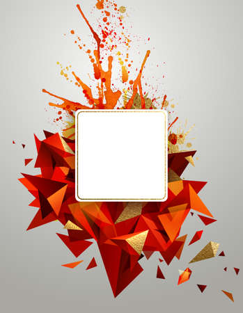cover: Square frame on the geometric abstract banner with bright red color and gold texture. Modern geometric triangulars formed by artistic blots.