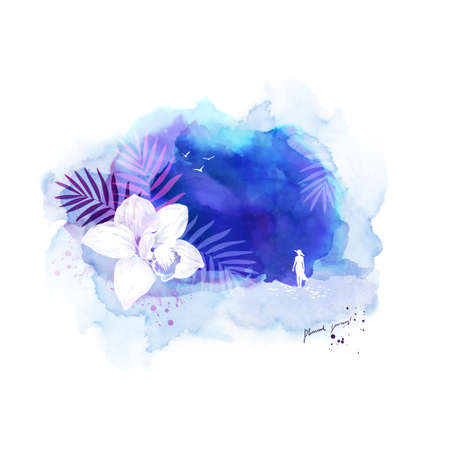 Composition with white silhouette of woman standing on the coast of tropical place. Banner with orchid on the abstract blue watercolor background. Illustration