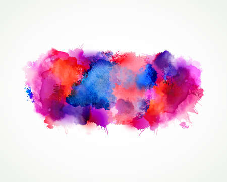 Purple, blue, lilac, orange, magenta and pink watercolor stains. Bright color element for abstract artistic background.