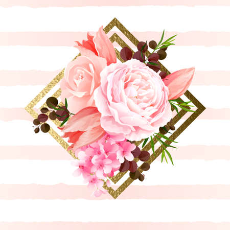 petal: Elegance flowers bouquet of color roses and tulips. Composition with blossom flowers and branches on the geometric design element. Vector illustration.