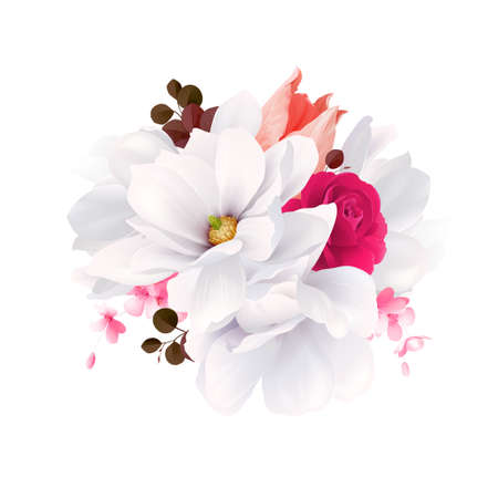 Elegance flowers bouquet of white beautiful Magnolias, color rose and tulip . Composition with blossom flowers and branches. Vector illustration. Illustration