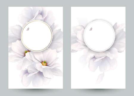 エレガントな花の組成を持つ 2 つの招待状やお祝いカードのセットです。咲く白いモクレンは、白い背景に組成物を形成します。  イラスト・ベクター素材