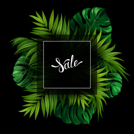 holiday shopping: Sale banner with green tropical palm and monstera leaves on the black background. White lettering on the summer poster. Illustration