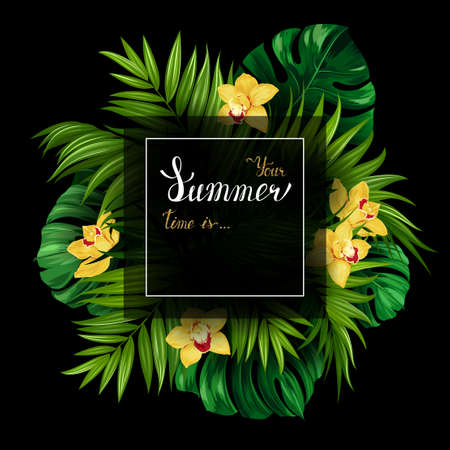 gold: Holiday banner with green tropical palm, monstera leaves and yellow Orchids blooming flowers on the black background. White and gold texture lettering on the summer poster. Illustration