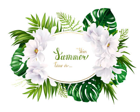 green environment: Holiday banner with green tropical palm, monstera leaves and magnolia blooming flowers on the white background. White and gold texture lettering on the summer poster.