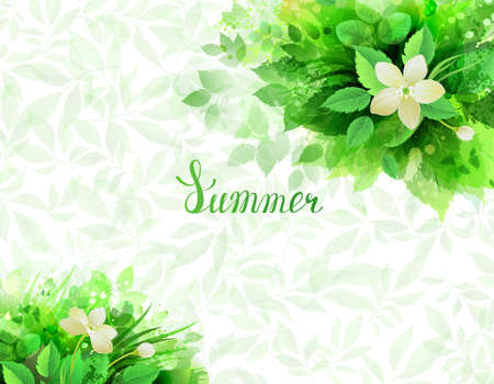 postcard: Summer with seasonal composition of branches with fresh green leaves.