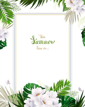 green environment: Universal invitation or congratulation card with green tropical palm, monstera leaves and magnolia blooming flowers on the white background. Holiday banner with place for message on the summer poster. Illustration