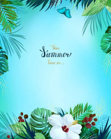 Universal invitation or congratulation card with green tropical palm, monstera leaves and hibiscus blooming flower on the blue background. Holiday banner with place for message on the summer poster.