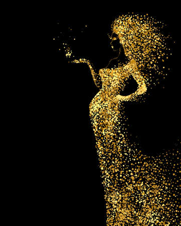 long hair model: Beautiful Woman abstract figure formed by gold color particles on the black background. Bright banner with beautiful glamour girl with hair down and in the long fashion dress.