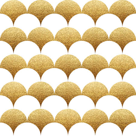 Abstract seamless geometric pattern with white and gold texture squama.