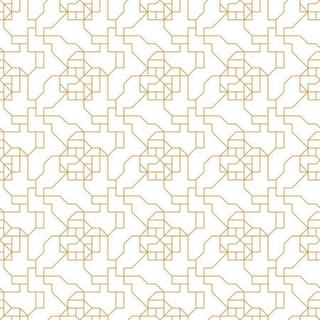 Abstract geometric seamless pattern with lines and polyginal elements isolated on the white background.